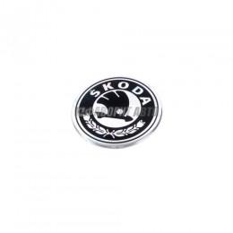 Эмблема на диски/колпаки d=5,5-7 см черные/алюминий Skoda 4 шт.  #