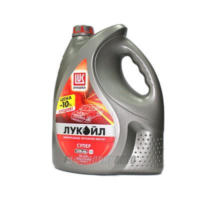 Моторное масло Лукойл СУПЕР 15W-40, 5л, минеральное